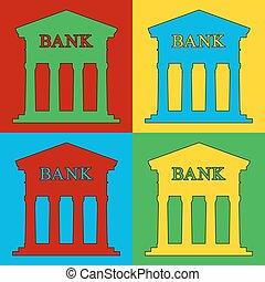 Pop art bank symbol icons. Vector illustration.