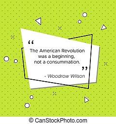 Pop-art banner Woodrow Wilson revolution quote