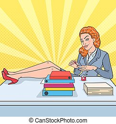 Pop Art Beautiful Business Woman Painting Nails at Office Work. Nail Polish. Vector illustration