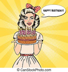 Pop Art Beautiful Woman Holding a Plate with Happy Birthday Cake with Candles. Vector illustration
