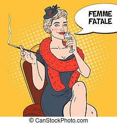 Pop Art Beautiful Woman in Fur with Glass of Champagne. Femme fatale. Retro vector illustration