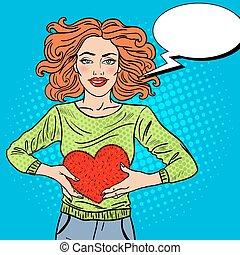 Pop Art Beautiful Woman in Love with Plush Heart