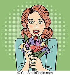 Pop art Beautiful Woman with Bunch of Flowers