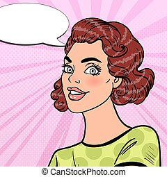 Pop Art Beautiful Young Girl Smiling with Comic Speech Bubble. Portrait of Pretty Woman. Vector illustration