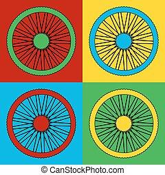 Pop art bicycle wheel symbol icons.