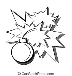 Pop art black and white detonation of a bomb with sparks and flashes from explosions. Cartoon comic book illustration