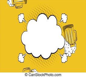Pop art blank cloud HD definition - Pop art blank cloud over...