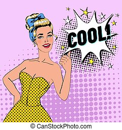 Pop Art Blonde Woman Posing with Thumb Up Sign. Joyful Girl Vintage Poster with Comic Speech Bubble. Pin Up Advertising Placard Banner. Vector illustration