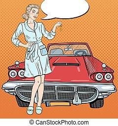 Pop Art Blonde Woman with Car Keys. Vector illustration