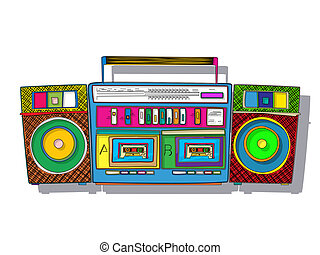 Pop Art boombox - Vintage stereo double tape cassette...