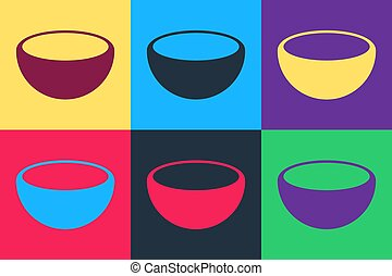 Pop art Bowl icon isolated on color background. Vector