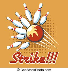Pop art bowling strike poster