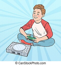 Pop Art Boy Playing Video Game. Kid with Control Console. Vector illustration