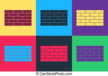 Pop art Bricks icon isolated on color background. Vector