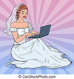 549775dc3 Pop Art Bride with Laptop. Happy Woman in Wedding Dress Shopping Online. Vector  illustration