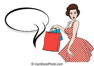 Pop art brunette woman hold bag