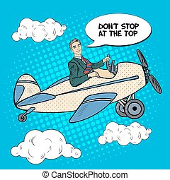 Pop Art Business Man Riding Airplane with Comic Speech Bubble. Vector illustration