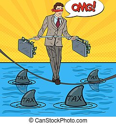 Pop Art Business Man Walking on the Rope with Two Money Briefcase Over the Sea with Sharks. Vector illustration