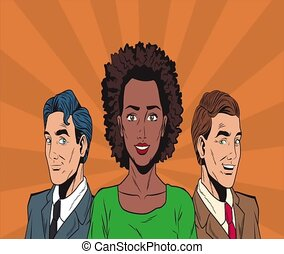 Pop art business people HD animation