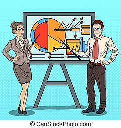 Pop Art Business Woman and Businessman with Pointer Stick Presenting Business Chart. Vector illustration