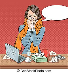 Pop Art Business Woman Feeling Sick at Work. Girl with Flu. Vector illustration