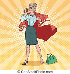Pop Art Business Woman Hurries to Work. Busy Girl with Morning Coffee. Vector illustration
