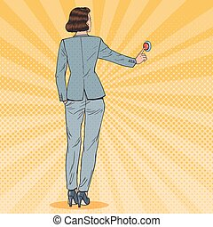 Pop Art Business Woman Pressing Red Button. Emergency Call. Vector illustration