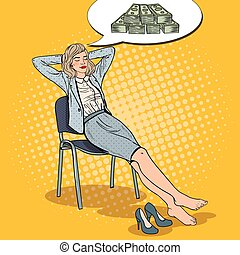 Pop Art Business Woman Relaxing and Dreaming about Money
