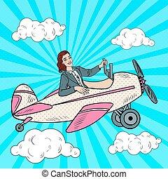 Pop Art Business Woman Riding Vintage Airplane. Vector illustration