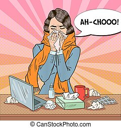 Pop Art Business Woman Sneezing. Girl with Flu at Work....