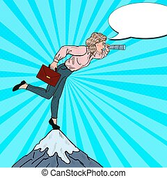 Pop Art Business Woman with Telescope on the Top of the Mountain. Business Strategy. Vector illustration