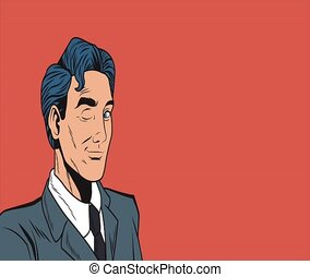 Pop art businessman doing like and sign HD animation