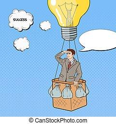 Pop Art Businessman Flying in Hot Air Balloon