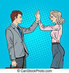 Pop Art Businessman Giving High Five to Business Woman. Vector illustration