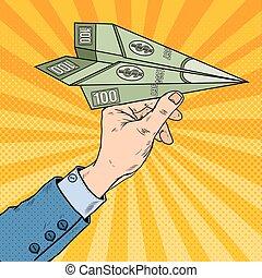 Pop Art Businessman Hand Throwing Dollar Paper Plane. Vector illustration