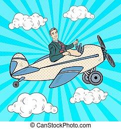 Pop Art Businessman Riding Retro Airplane. Vector illustration