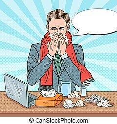 Pop Art Businessman Sneezing at Office Work. Man with Flu. Vector illustration