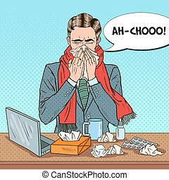 Pop Art Businessman Sneezing at Office Work. Man with Tissue. Vector illustration