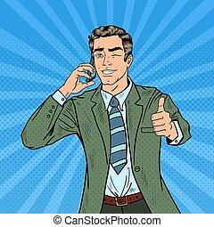 Pop Art Businessman Talking on the Phone