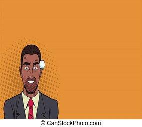 Pop art businessman thinking in briefcase HD animation
