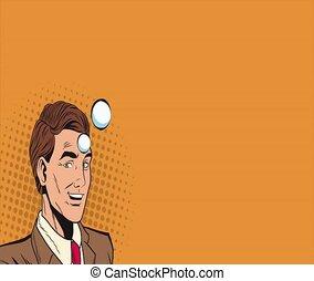 Pop art businessman thinking in cinema HD animation