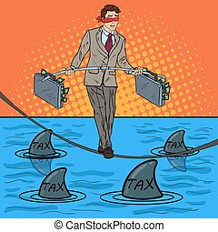 Pop Art Businessman Walking on the Rope with Briefcase Over the Sea with Sharks. Investment Risk. Vector illustration