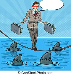 Pop Art Businessman Walking on the Rope with Briefcase Over the Sea with Sharks. Vector illustration