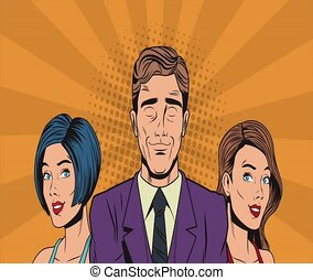 Pop art businessman with beautiful womens HD animation