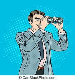 Pop Art Businessman with Binoculars Looking Money