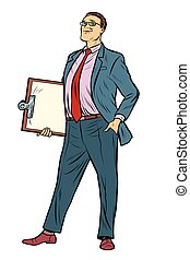 pop art Businessman with clipboard