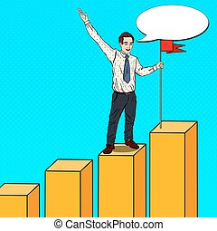 Pop Art Businessman with Flag on the Top of the Chart. Business Success. Vector illustration