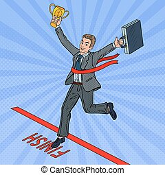 Pop Art Businessman with Golden Winner Cup Crossing Finish Line. Vector illustration