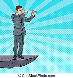 Pop Art Businessman with Telescope on the Top of the Mountain. Business Strategy. Vector illustration