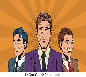 Pop art businessmens cartoons HD animation
